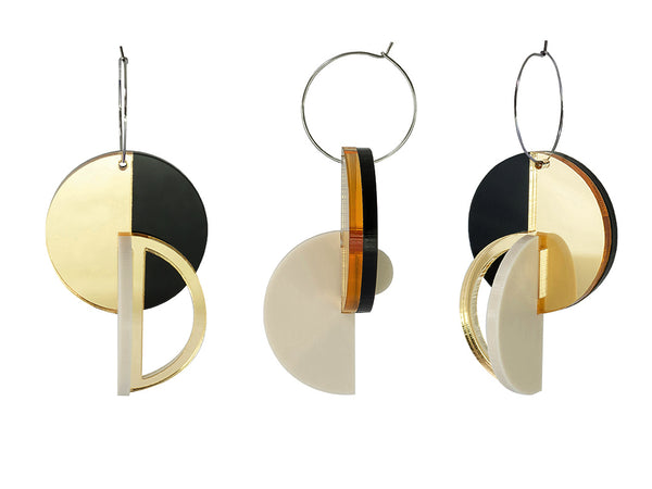 PAMELA COROMOTO ROTCHENKO Earrings - Gold/Black - Grom & Kakao