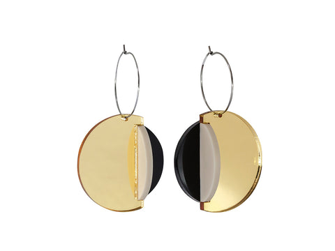 PAMELA COROMOTO Dexel Earrings -Gold/Black - Grom & Kakao