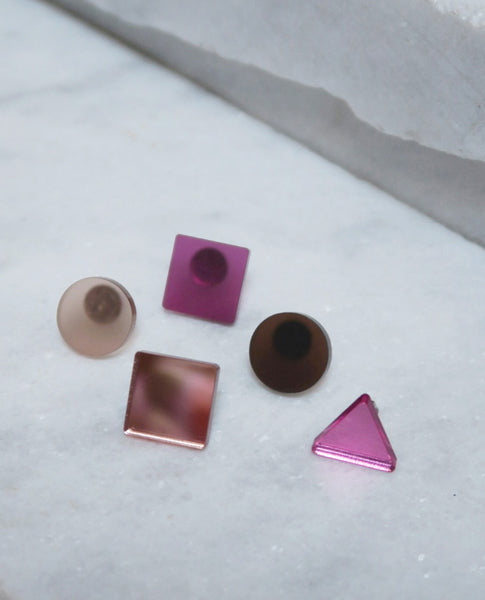 Basic Stud Earrings - Pink