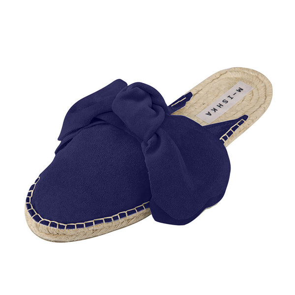 Royal Blue Bow Slippers