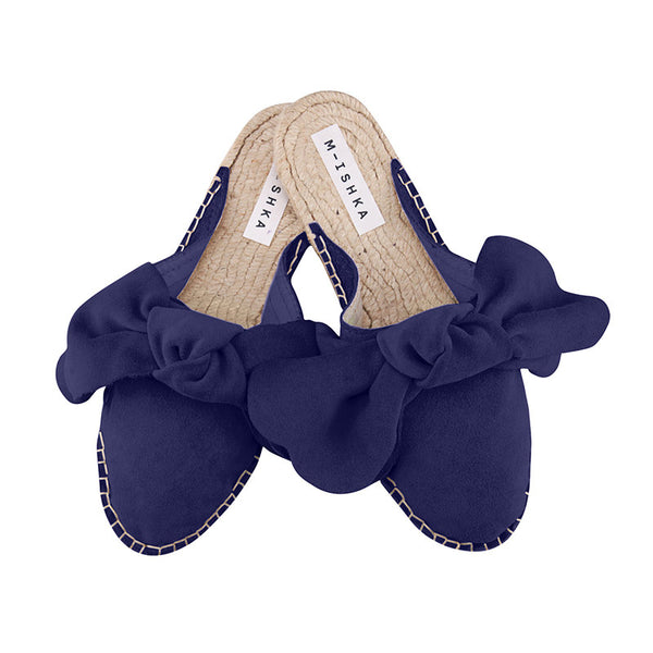 M-ISHKA Royal Blue Bow Slippers - Grom & Kakao