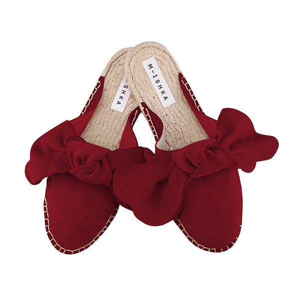 Royal Red Bow Slippers