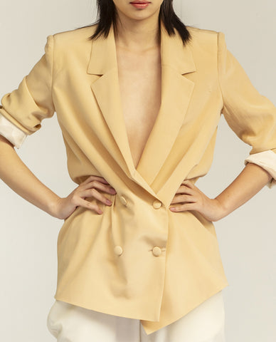 SIMONE Silk Jacket - Butter Yellow