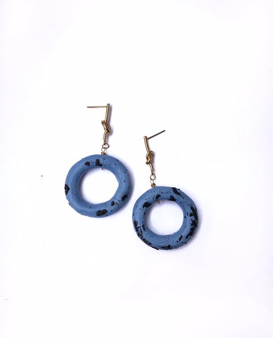 Sand Blue Circle Earrings