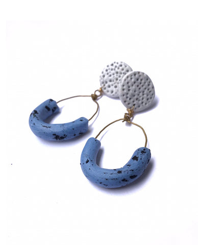 Sand Blue Half Circle Earrings