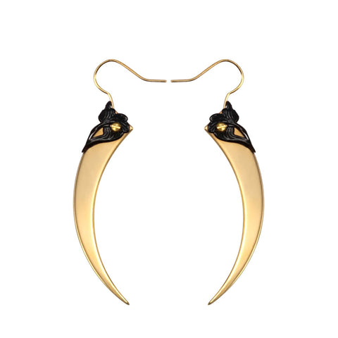 Serpent Fangs Gold Spike Earrings