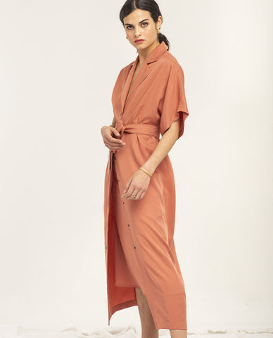 SHASH AIRI DARK CORAL LYOCELL DRESS - Grom & Kakao