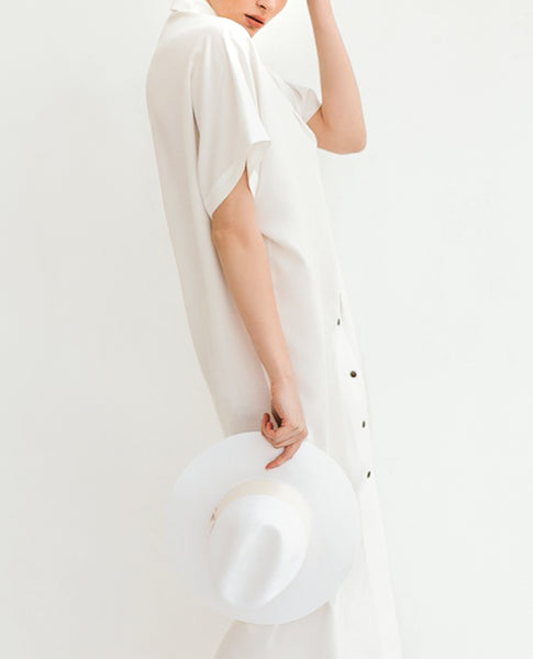 SHASH AIRI PURE WHITE LYOCELL DRESS - Grom & Kakao