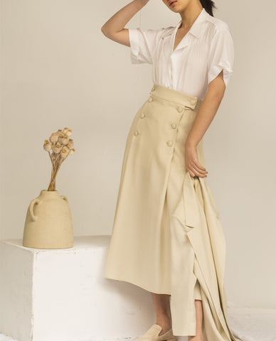 SHASH DAPHNE LIGHT BEIGE LYOCELL SKIRT - Grom & Kakao