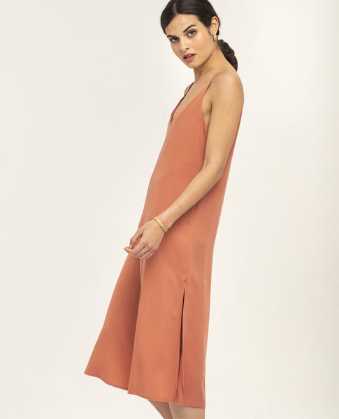 SHASH OMNI LYOCELL DRESS DARK CORAL - Grom & Kakao