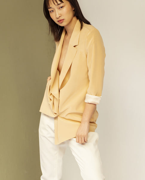 SIMONE BUTTER YELLOW SILK JACKET