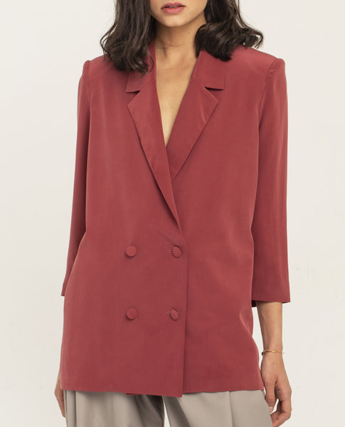 SIMONE EARTH RED SILK JACKET