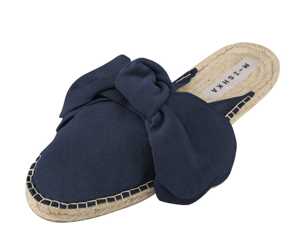 M-ISHKA Navy Blue Bow Slippers - Grom & Kakao