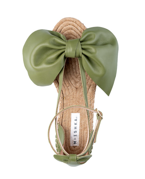 Aloe Green Bow Wedges