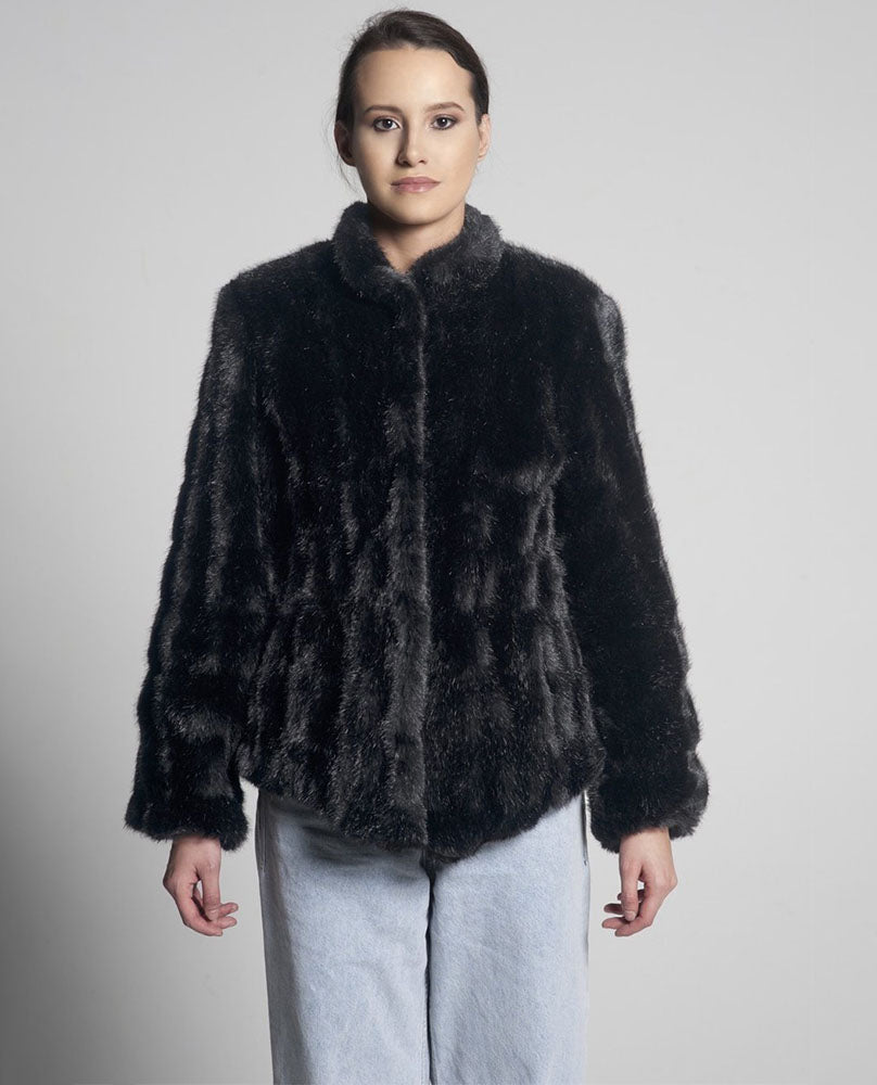 Sienna Mid Length Faux Fur Jacket / Black