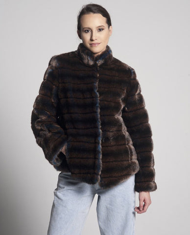 Sienna Mid Length Faux Fur Jacket / Brown