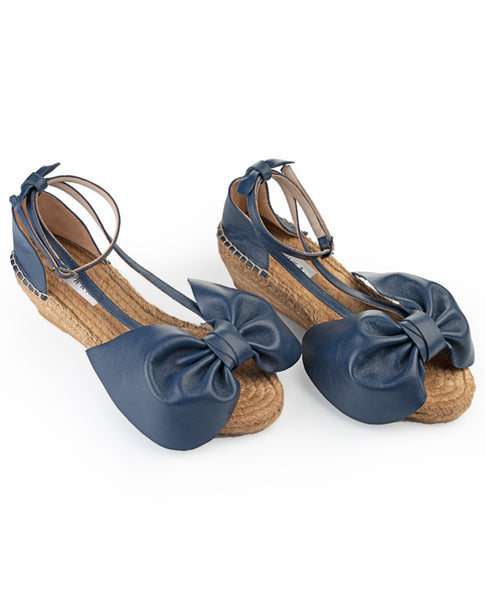 Navy Blue Bow Wedges