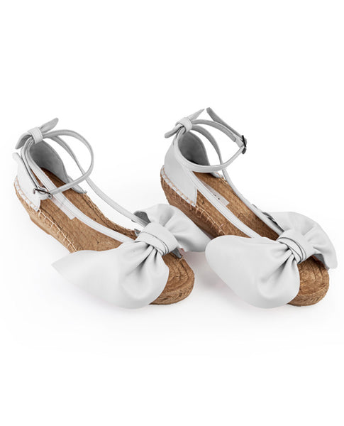 Off White Bow Wedges