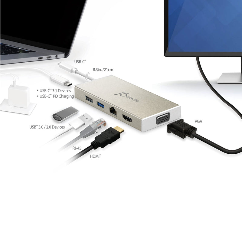 JCD376 USB-C™ 3.1 Fully functional Mini Dock-VGA/ HDMI™/ Ethernet/ USB™3.1 HUB/ PD2.0