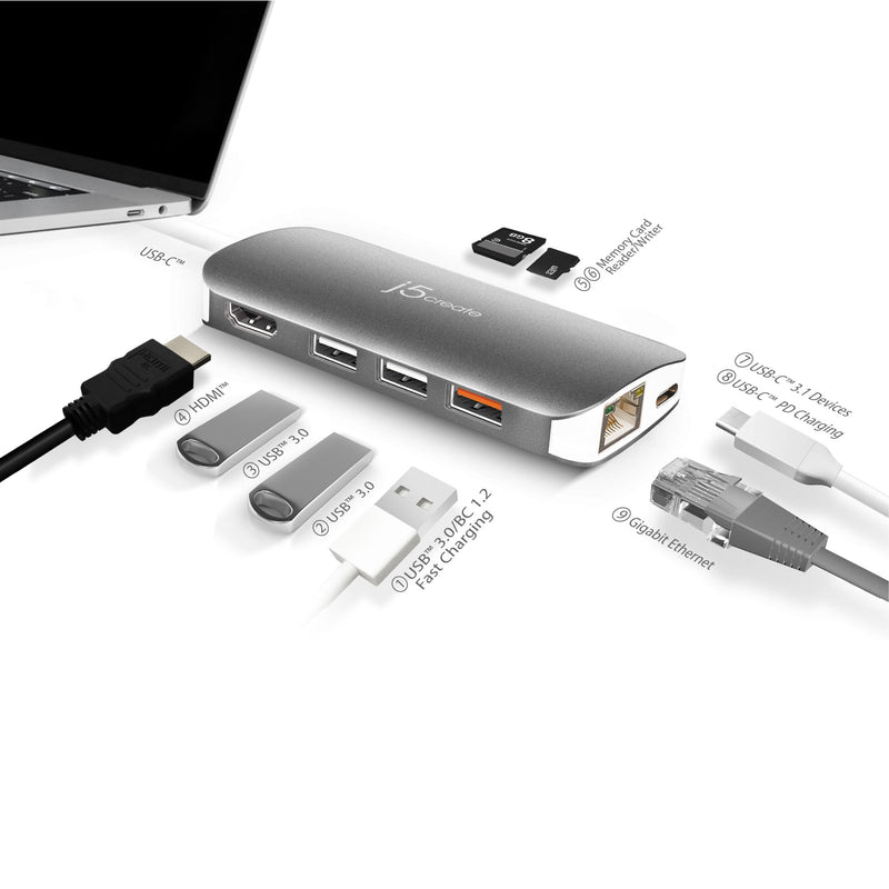 JCD383 USB-C™ Multi Adapter-HDMI™ / Ethernet / USB™ 3.1 / PD 3.0 / Memory Card Reader / Writer