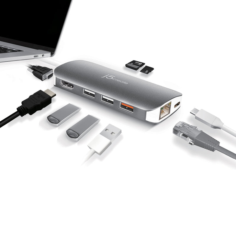 JCD384 USB-C™ Multi Adapter-HDMI™ / VGA/ Ethernet / USB™ 3.1 / PD 3.0 / Memory Card Reader / Writer