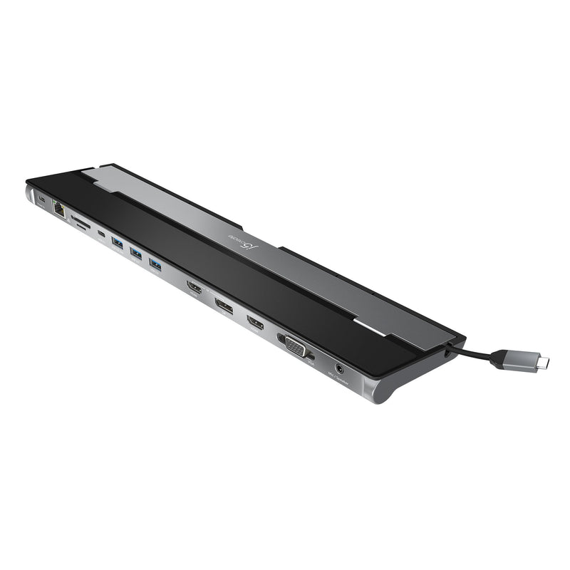 black casing USB type C docking station with 13 connectivity ports, and silver host cable storage compartment
