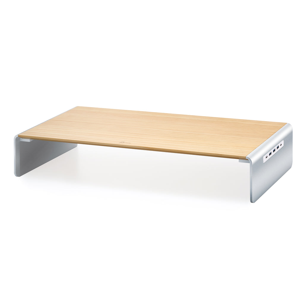 JCT425 wooden monitor stand with smooth aluminum-alloy silver raiser docking station ports