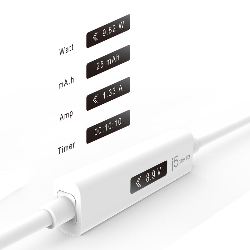 JUCP13 USB™ Type-A 2.0 to USB-C™ Cable with OLED Dynamic Power Meter