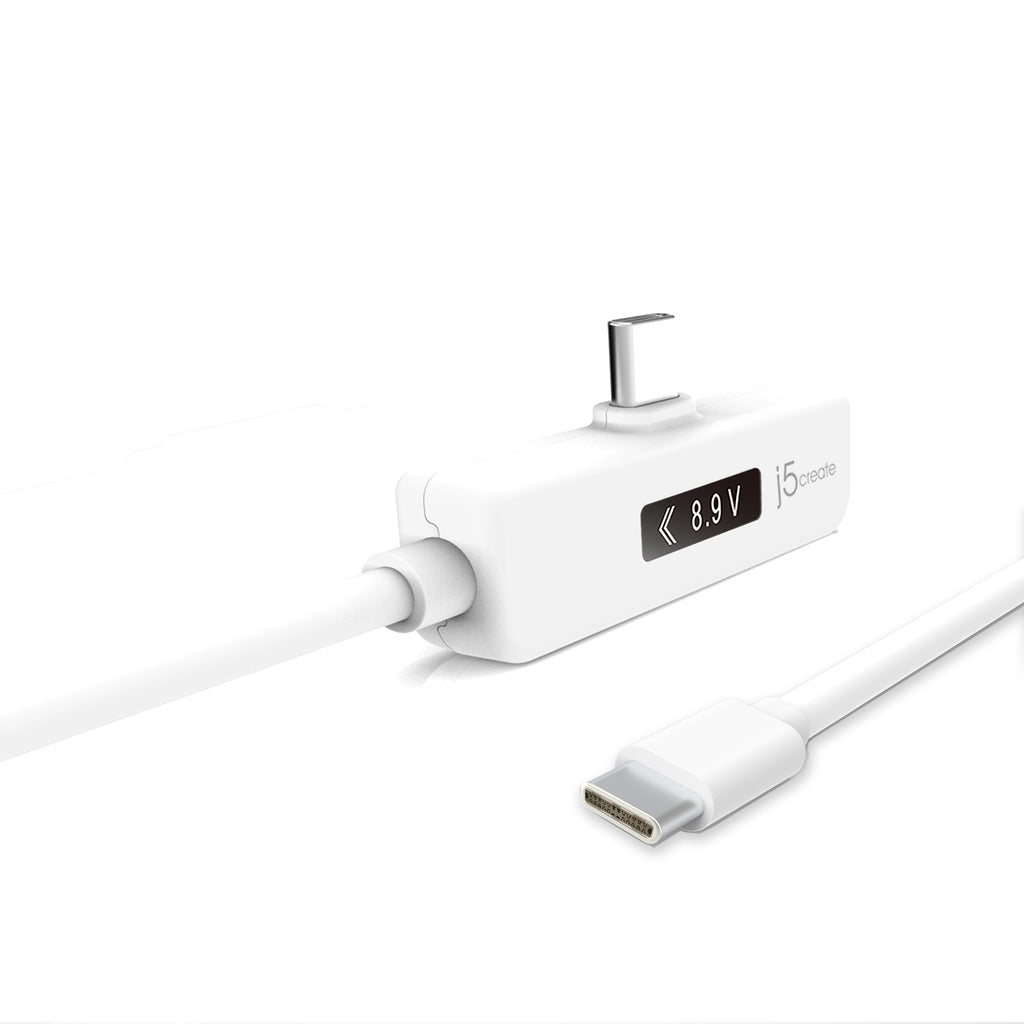 close up of JUCP15 white cable usb c right angled side with OLED power meter and other usb c end