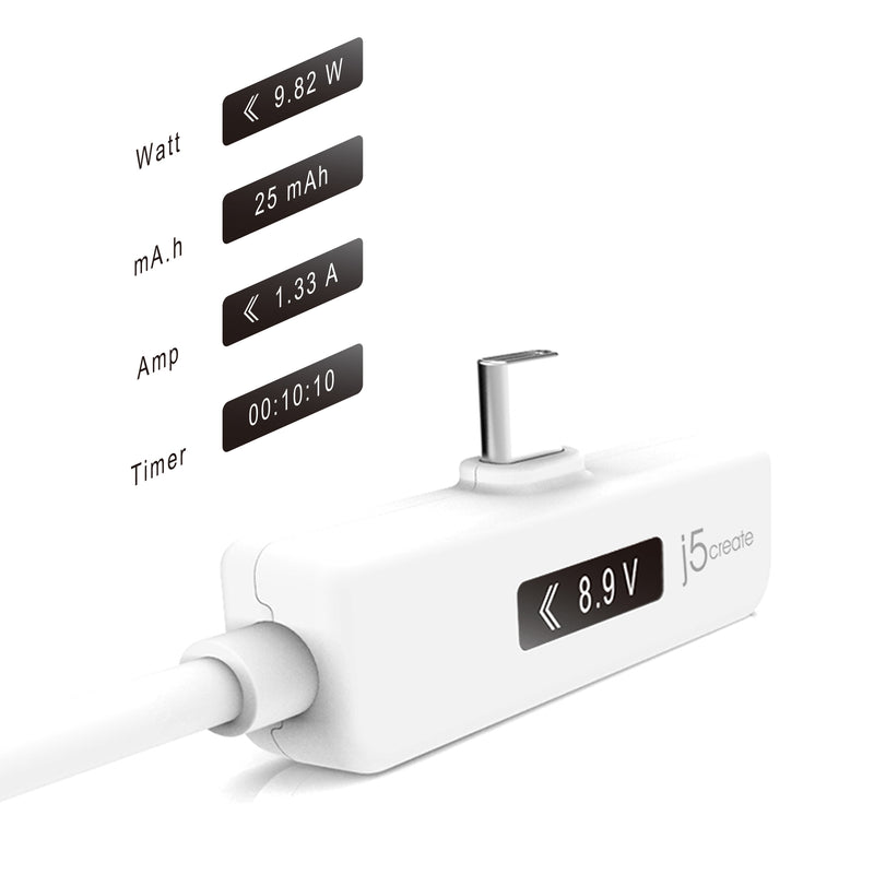 JUCP15 USB-C™ 2.0 to USB-C™ Right Angle With OLED Dynamic Power Meter