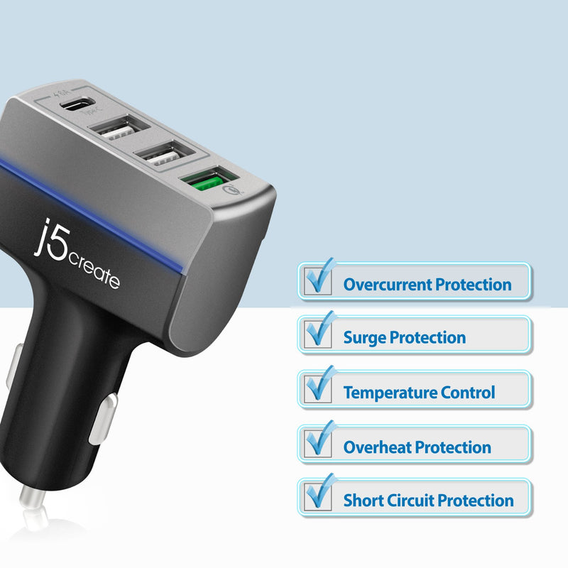 JUPV41 4-Port USB<sup>™</sup> QC 3.0 & Type-C<sup>™</sup> Car Charger