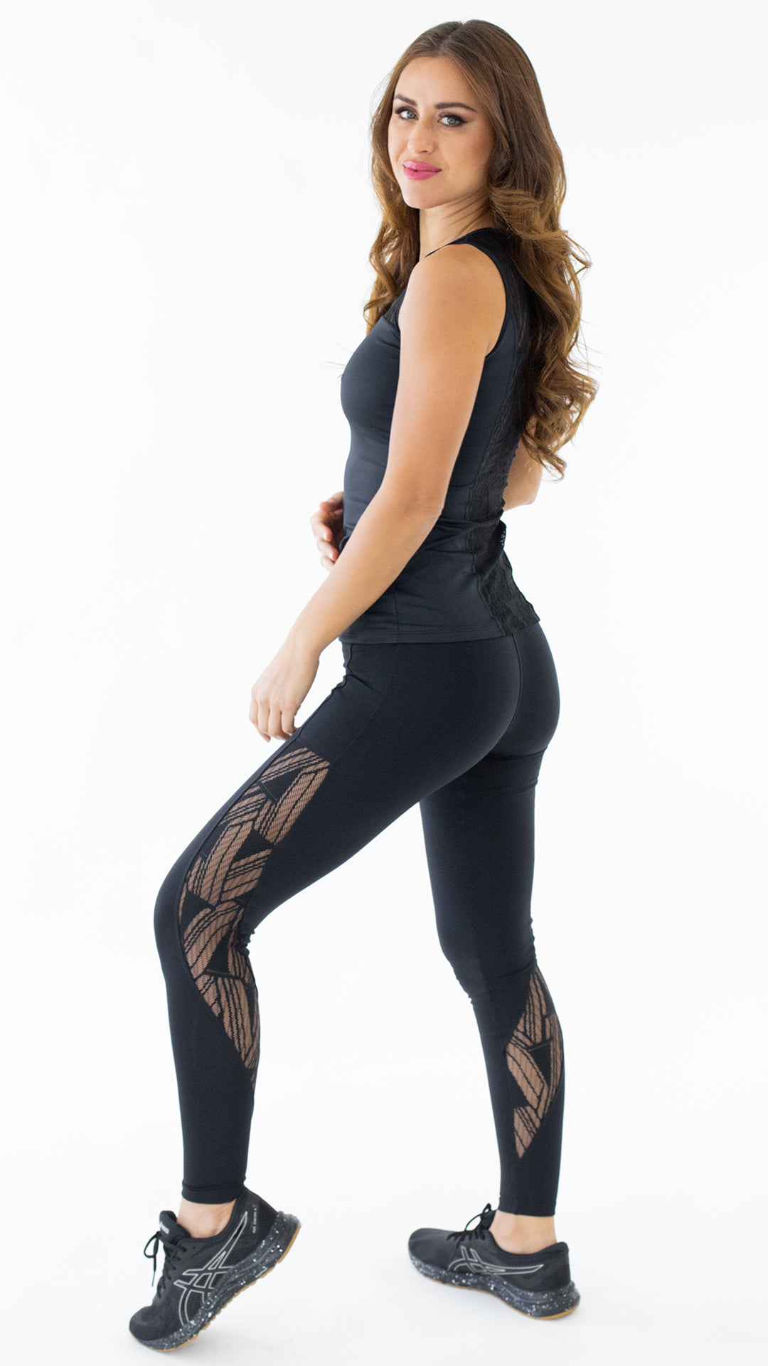 Black Lace Kate Long Top LT1061 - Equilibrium Activewear