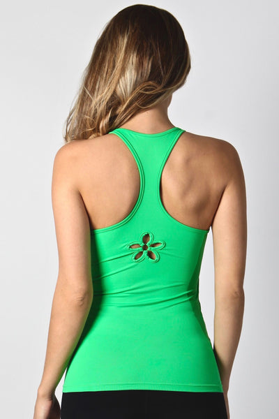 LIME GREEN FLOWER LONG TOP LT160 - Equilibrium Activewear