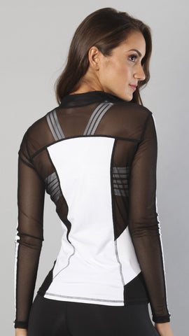 Designer Black and White Long Top with Full Sleeve J818 - Equilibrium Activewear - Image 2