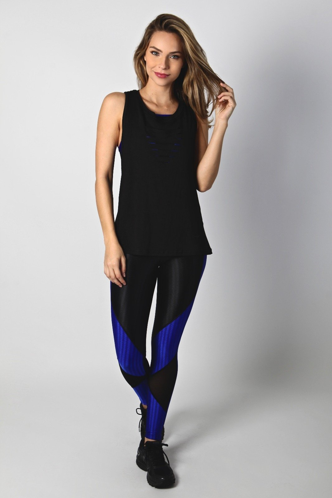 Black and Royal Storm Legging L7006 - Equilibrium Activewear