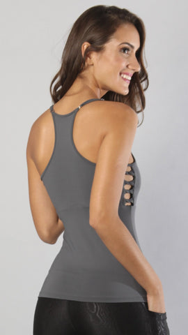Designer Gray Long Top with Spaghetti Strap LT1102 - Equilibrium Activewear - Image 2
