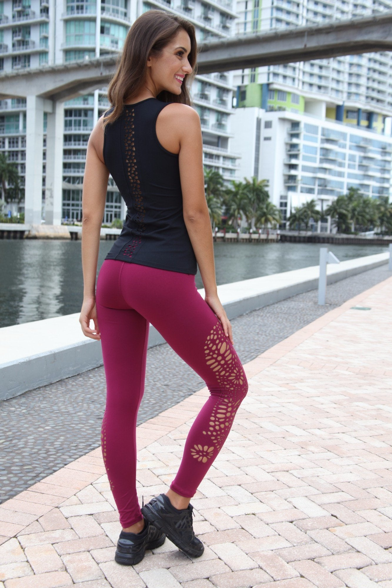 Designer Pink Legging with Net Style L7020 - Equilibrium Activewear - Image 4