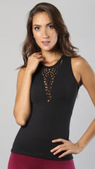 Designer Black Long Sleeveless Top LT1122 - Equilibrium Activewear - Image 1