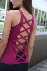 Designer Pink Long Tank Top with Cross Back Strap LT1124 - Equilibrium Activewear - Image 4