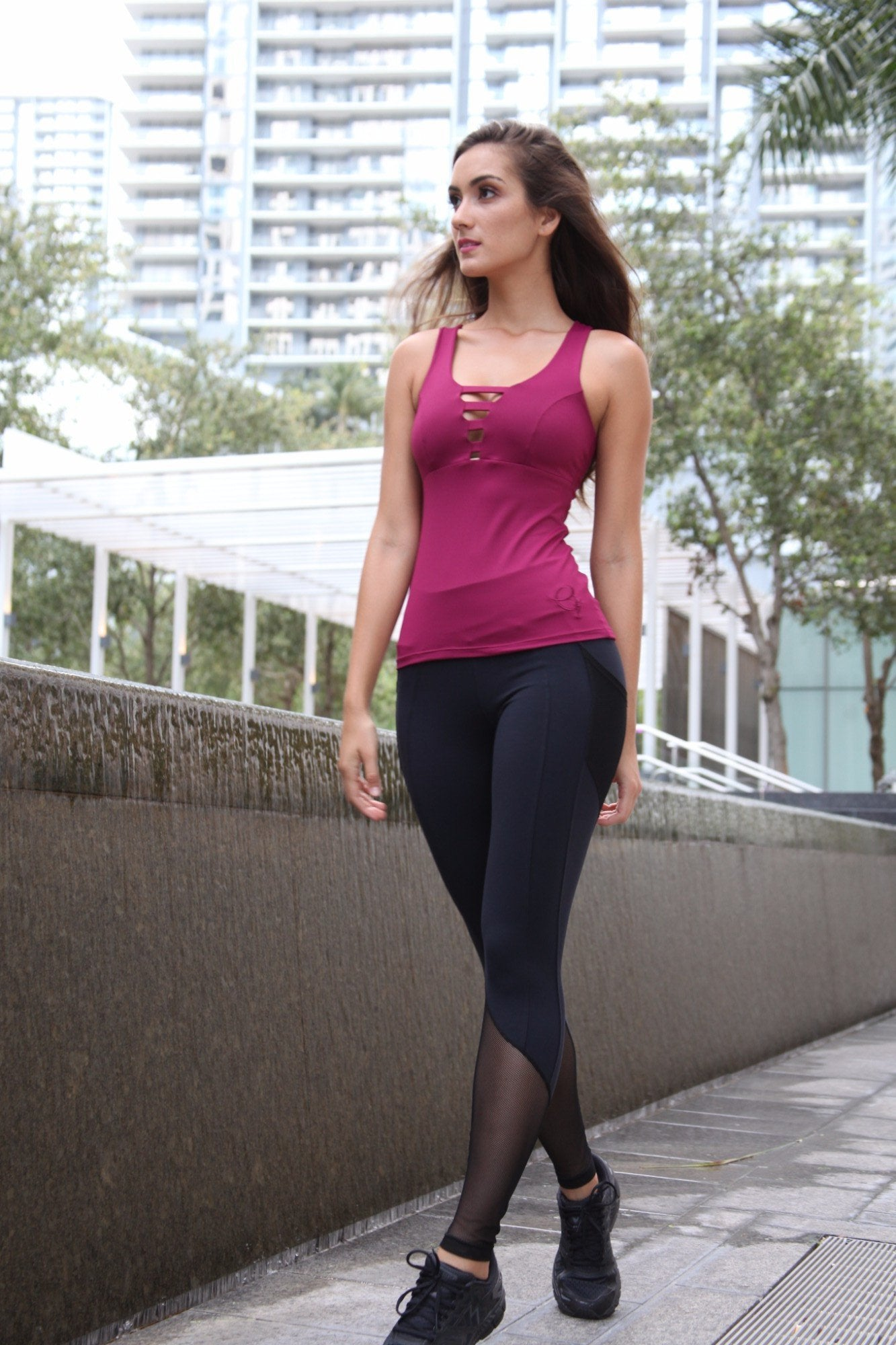 Designer Pink Long Tank Top with Cross Back Strap LT1124 - Equilibrium Activewear - Image 3