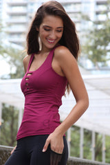 Designer Pink Long Tank Top with Cross Back Strap LT1124 - Equilibrium Activewear - Image 5