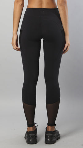 Designer Black Legging with Net below Nee L7024 - Equilibrium Activewear - Image 2