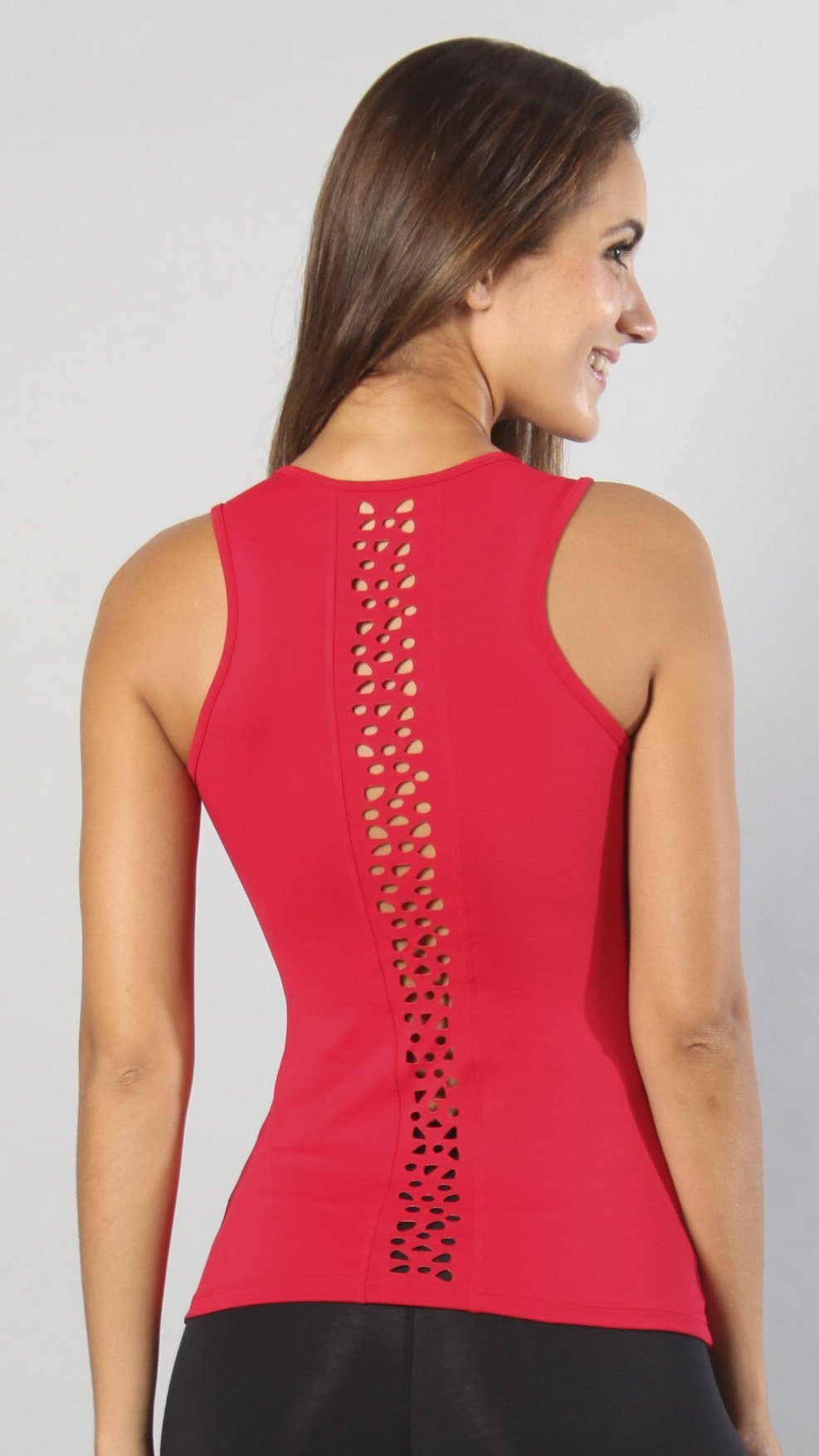 Designer Red Sleeveless Laser Cut Long Top LT1122