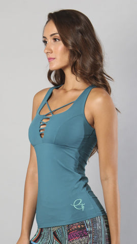 Designer Green Long Tank Top LT1045 - Equilibrium Activewear - Image 2