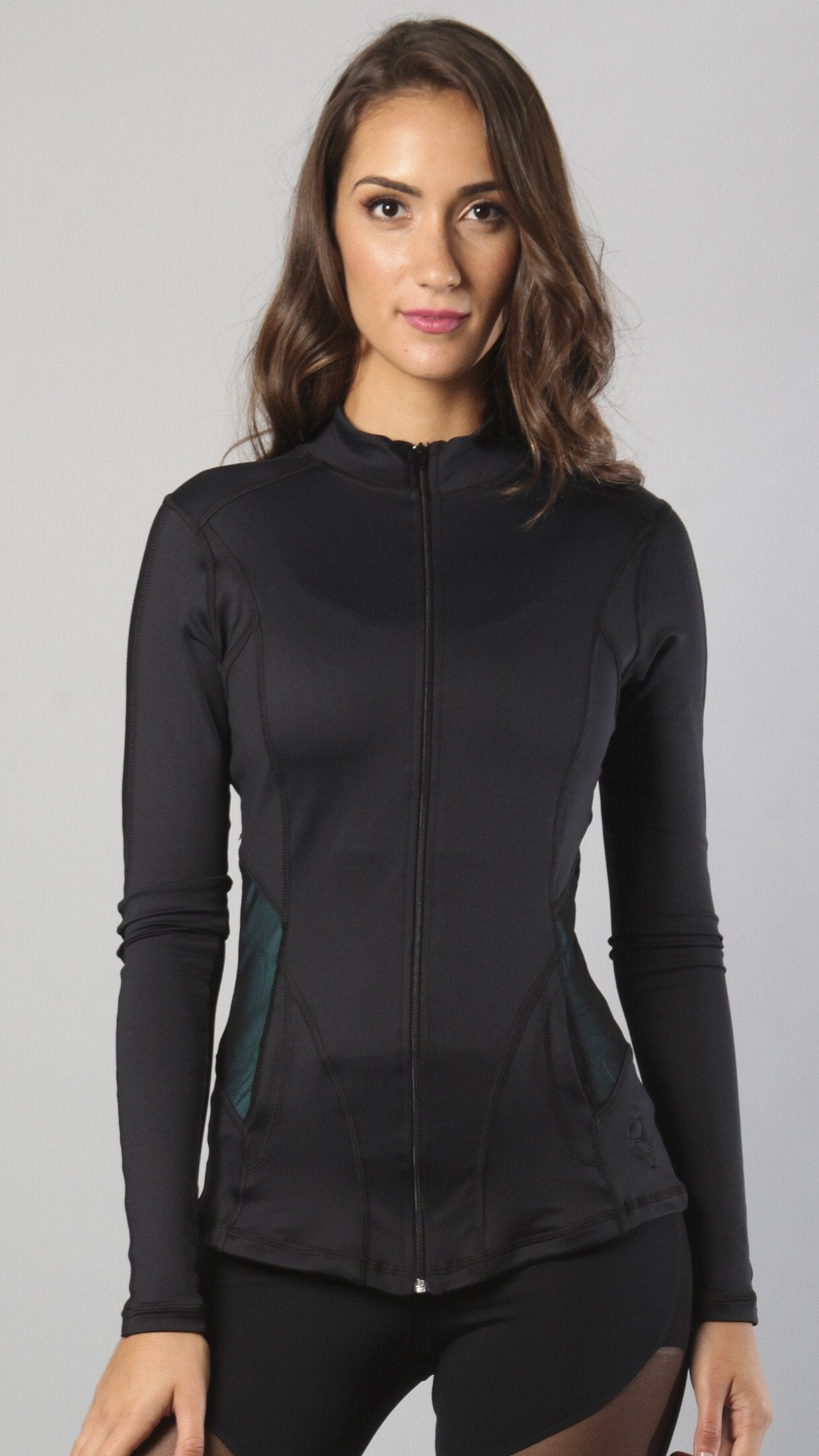 Designer Black Long Top with Long Sleeve J818 - Equilibrium Activewear - Image 1
