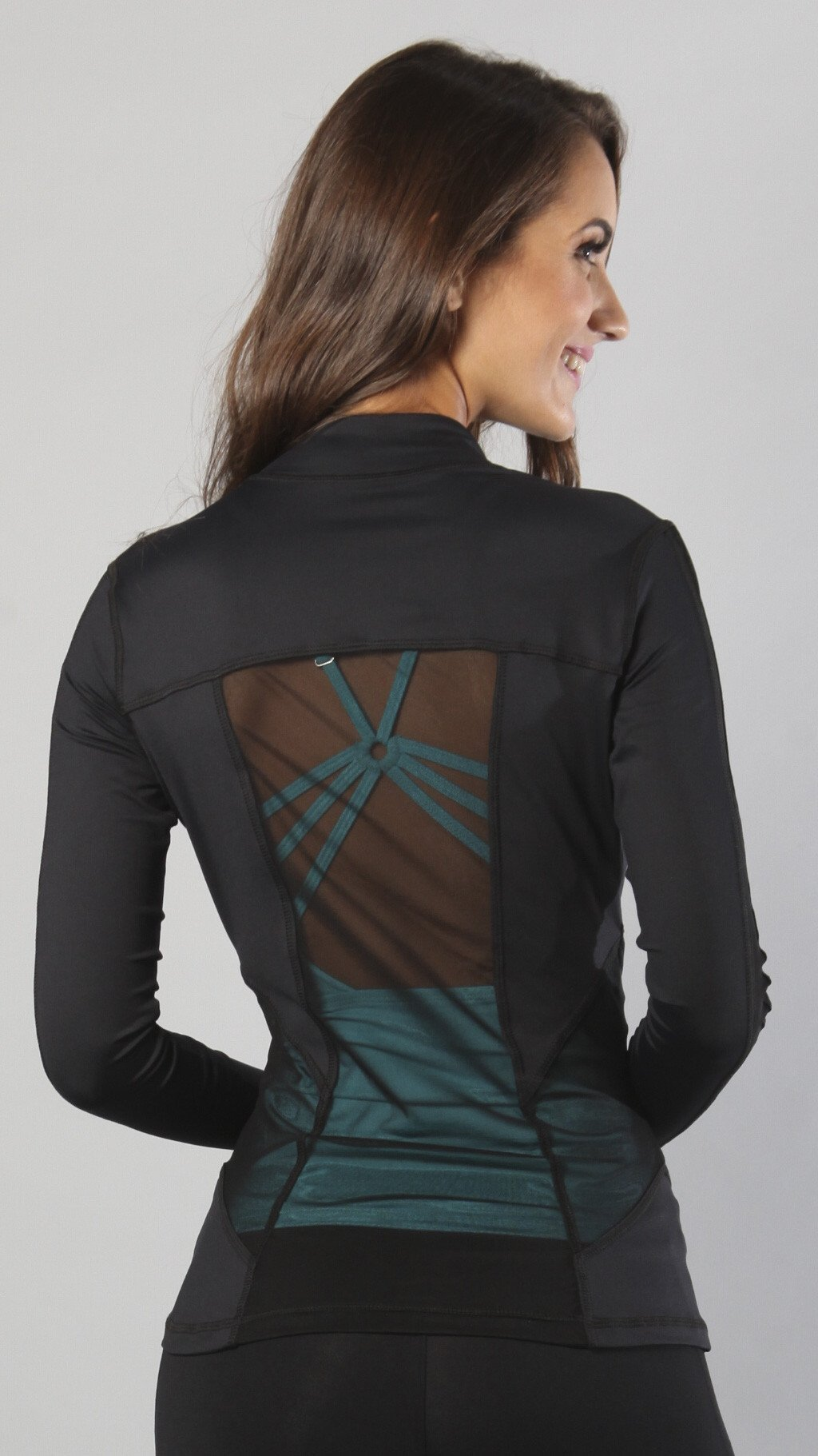 Designer Black Long Top with Long Sleeve J818 - Equilibrium Activewear - Image 2