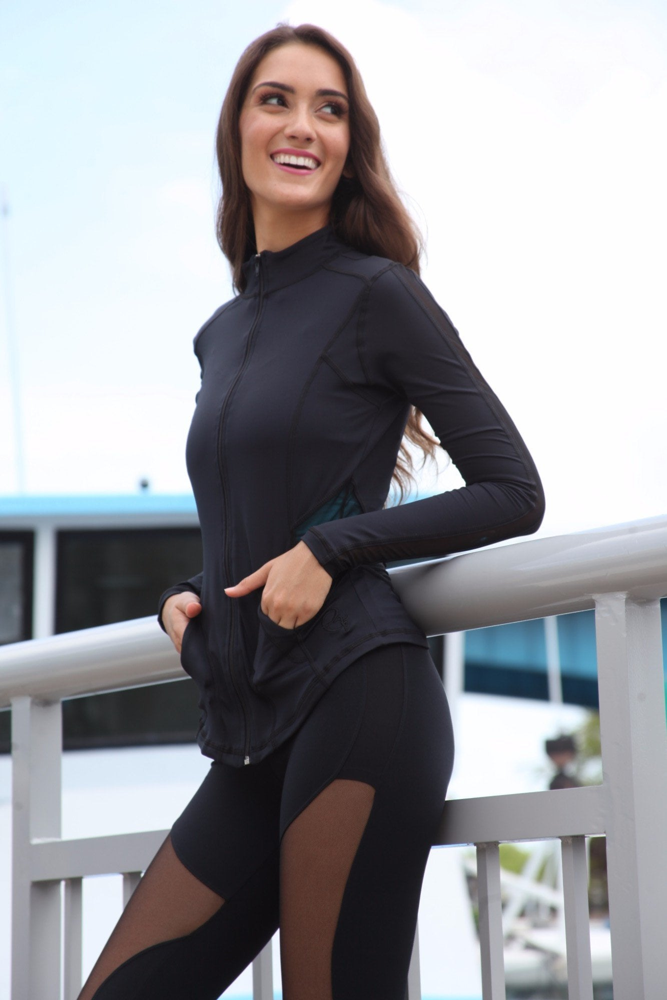 Designer Black Long Top with Long Sleeve J818 - Equilibrium Activewear - Image 4