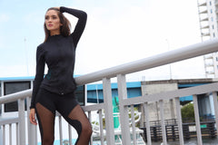 Designer Black Long Top with Long Sleeve J818 - Equilibrium Activewear - Image 3