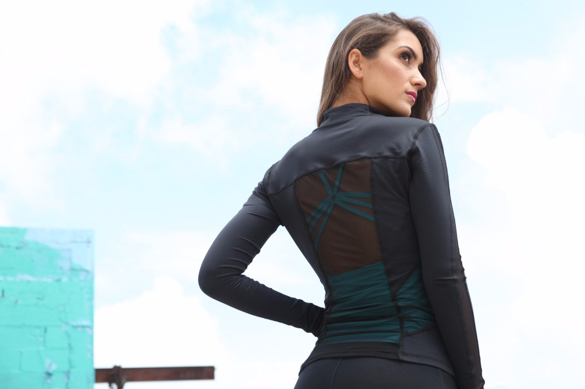 Designer Black Long Top with Long Sleeve J818 - Equilibrium Activewear - Image 5