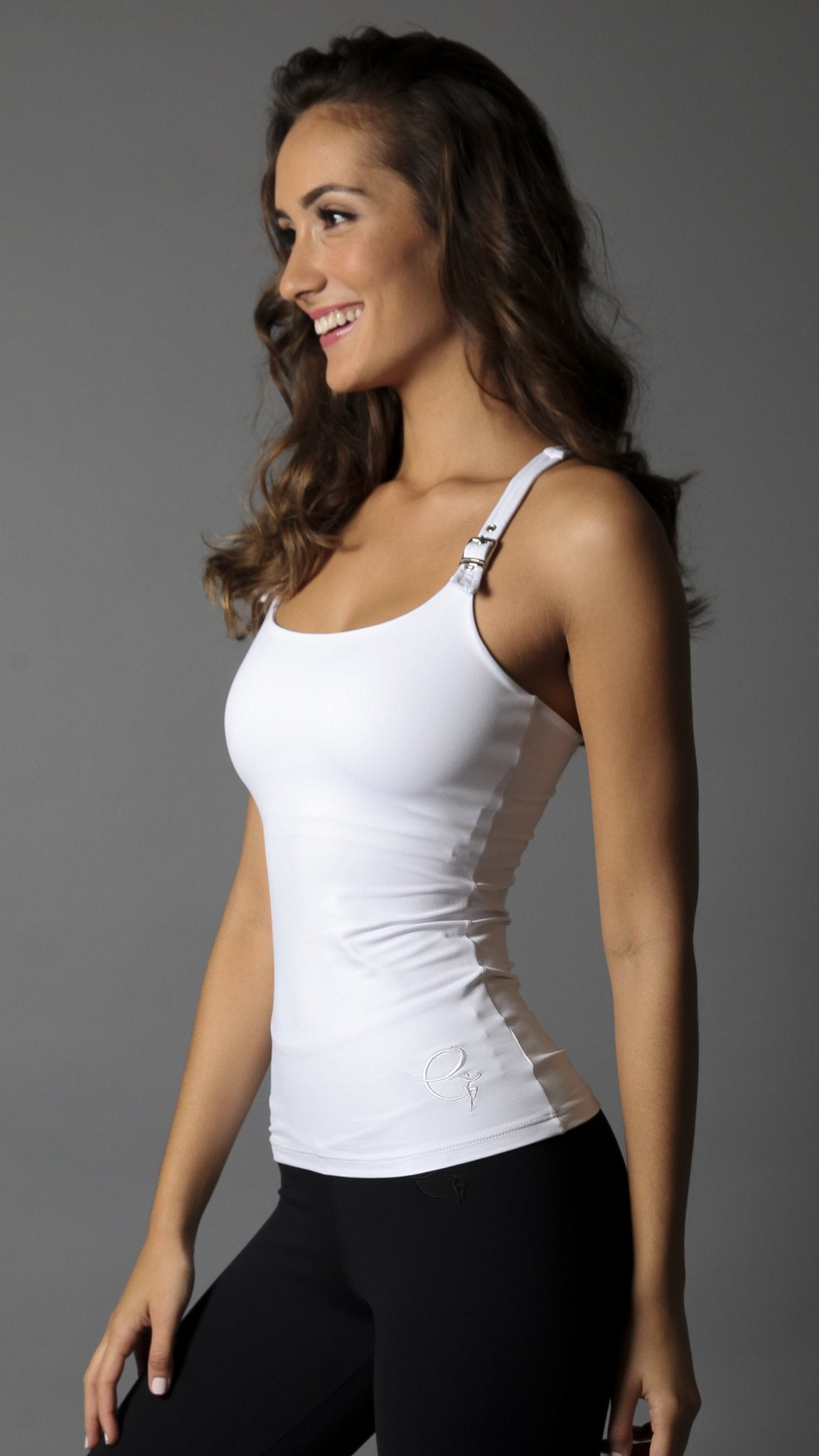 Buckle Strap Long Top LT128 White - Equilibrium Activewear